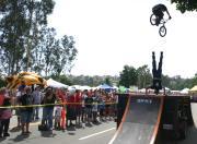 Thomas Hancock jumps over stunt rider Ricky Vigil!