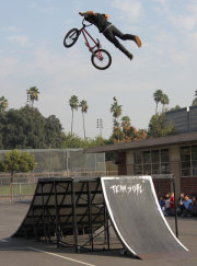 Bmxbikeshow.com has 3 riders in every show and 1 announcer 4 performers total.