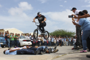 This is the first ever Bmx show at a school on the island of Aruba.